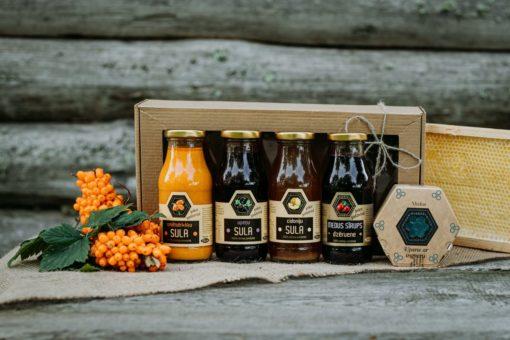 Dāvanu komplekts ar medus sīrupiem un medu