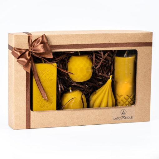 """Dāvanu komplekts """"Piecas dabīgas bišu vaska sveces"""""""