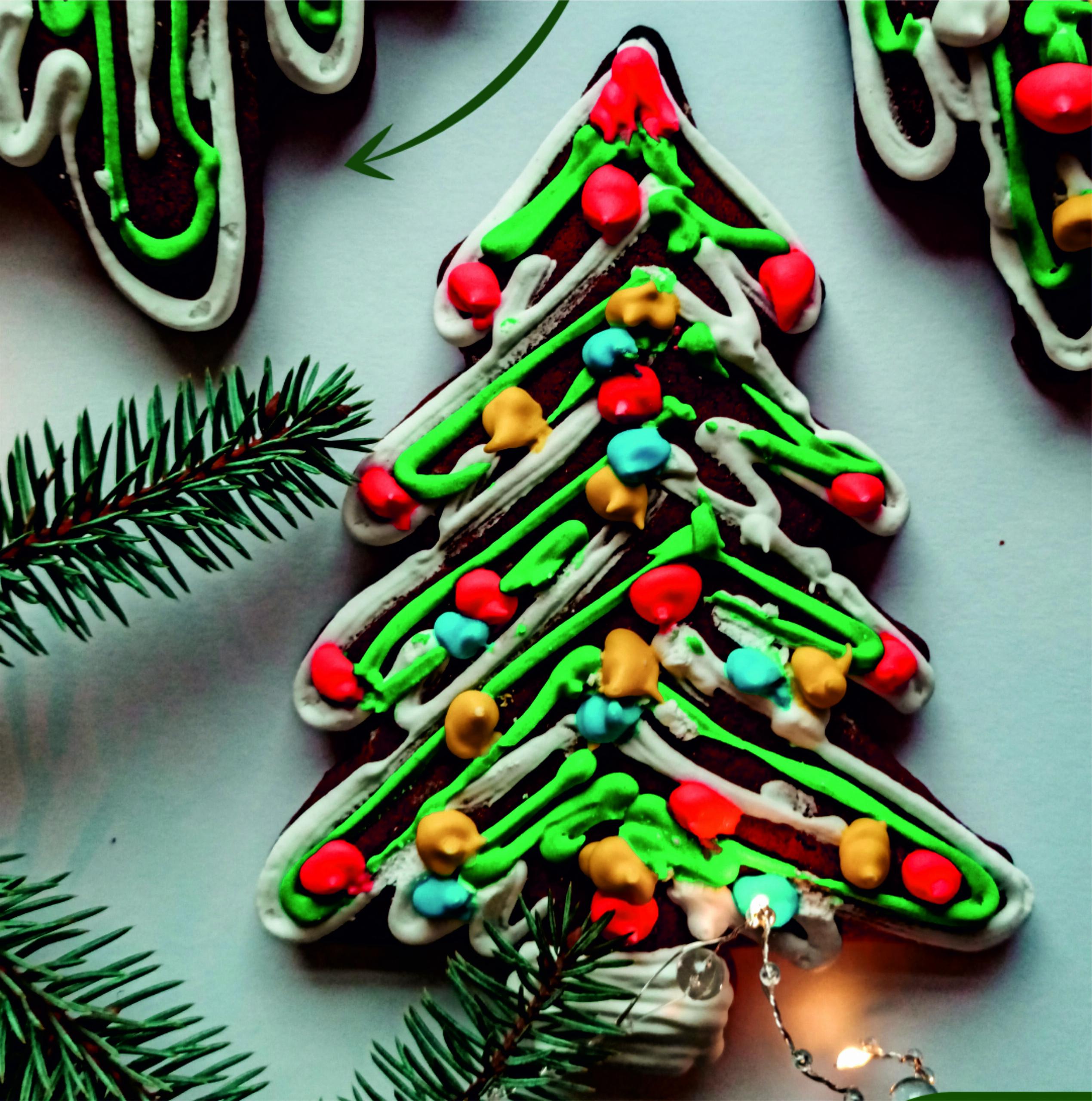 Piparkūka Ziemassvētku Egle 15 x 10cm